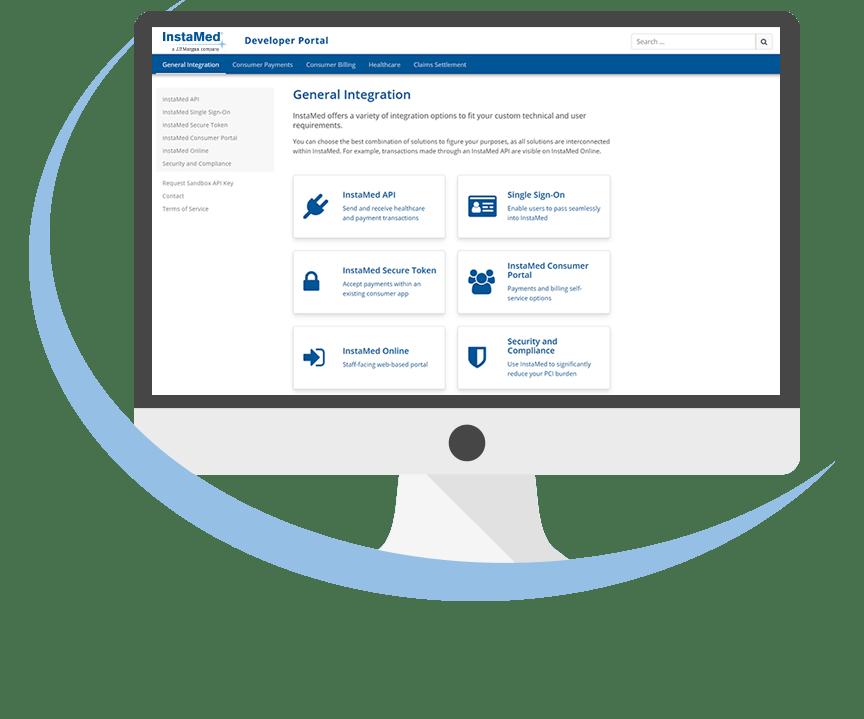 computer screen showing InstaMed Developer Portal