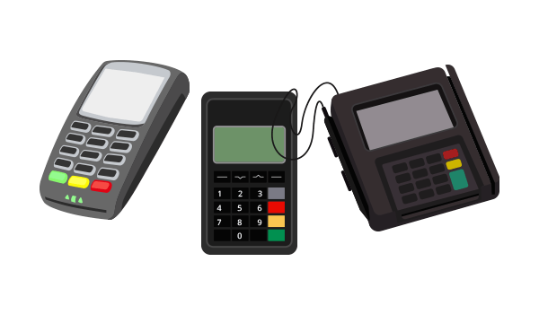 Three dfiferent types of secure EMV Point-of-Sale (PoS) devices.